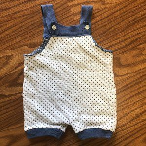 Cute Blue Polka Dotted Romper Overalls Vintage